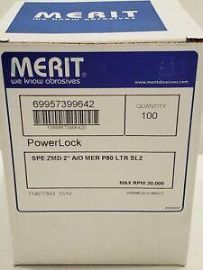 "Merit 69957399642 2"" 80 Grit Quick Change Disc Power Lock 30,000 RPM - 100 Ct"