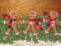 3 Christmas Gingerbread fabric Ornaments bowl fillers Buffalo Check Home Decor