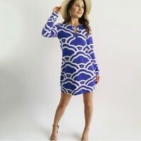 Diane Von Furstenberg Blue Printed Silk Women's Dress size Small