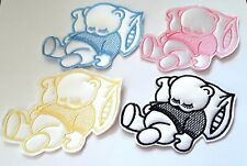 Sleeping Teddy Bear Satin Appliqué Motif Baby Boy / Girl Crafts 95 x 110mm x 1
