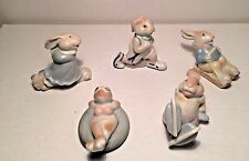 Fitz and Floyd Sport Bunny Rabbit Lot of 5 Skating Jogging Floating More 1983