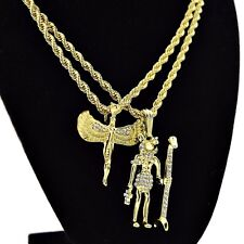 "Anubis & Isis Chain Egyptian God & Goddess Gold Tone Pendants 24"" Rope Necklaces"