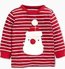 Next New Red Stripe Santa Christmas Long Sleeve Top Age 3-6 Months 100% Cotton