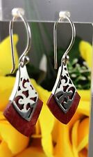 Earrings Red Coral 925 Sterling Silver Dangle Gypsy Surf Jewelry Great Quality