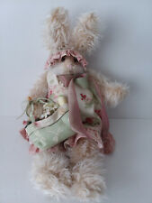 Hen in the Holly Collectible Bunny Rabbit Basket Bag Tote Flowers Pink Made USA