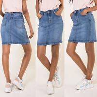 Women High Waist Denim Skirt Ladies Pencil Bodycon Jeans Skirt Size 6 8 10 12 14