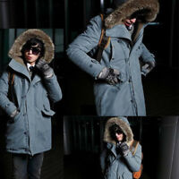Winter Mens Warm Down Cotton Coat Thicken Outwear Parka Hooded Fur Collar Jacket