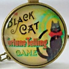 New Vintage Style Black Cat Necklace Pendant Fortune Tell Game  Antique Brass ly