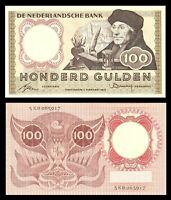 Netherlands 100 Gulden 1953 Erasmus Pick 88 Bank Note
