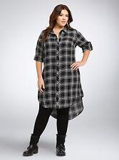 Torrid Plus Size 1 1X Black Blue White Plaid Button Front Shirt Dress Hi Lo Hem
