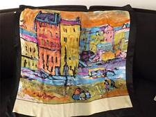 Fine Art Collection Village in Sunset Oil Painting Silk Scarf  Vincent Van Gogh