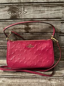 Coach Top Handle Signature Debossed Cranberry Patent Leather Cross Body Bag