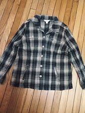 Cj Banks 1X Green Plaid V Neck Shirt Pockets Long Sleeve Euc