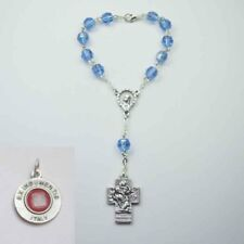 NEW St. Christopher Crucifix Car Rosary - Blue Crystal - Bonus St Anthony Re