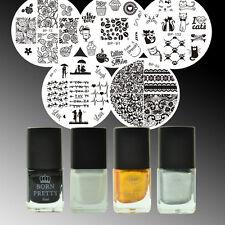 9pcs Born Pretty Spitze Rose Nail Art Stamping Schablonen Stempellack Kit