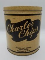 Vintage Charles Potato Chips 16 Oz 1 lb Tin Can Canister Container