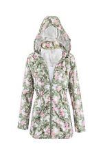 New Womens Khaki Printed Fishtail Lightweight Plus Size Rain Parka Coat Jacket