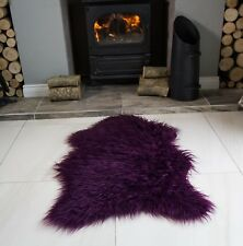 Fluffy Thick Modern Faux Fur Fake Non Slip Rubber Single Double Sheepskin Rug UK
