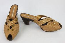 Clogs Mules R et RENZI Wood and Leather way Python Fauve US 8/FR 39,5