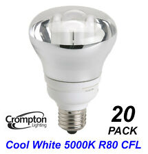 20 Pack x 15W R80 Reflector CFL Lamps / Globes / Bulbs 5000K E27 Cool White