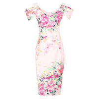 Pale Pink Floral Cold Shoulder Bardot Wiggle Pencil Cocktail Summer Party Dress