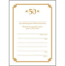 Pack of 10 Golden Wedding Anniversary Party Invitations, 50 Years - Ann-50-03