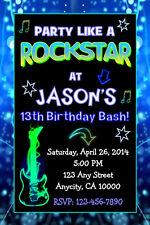 ROCK STAR TEEN BOY NEON GLOW BIRTHDAY PARTY INVITATION & FREE TY CARD U PRINT