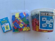 Tub of phonics tiles and flashcards, homeschool, teach, learn, read, phonics