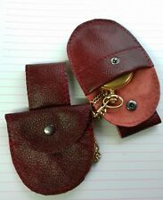 Fob watch Burgundy real leather pouch with belt loop to hang down from belt.