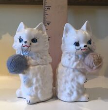 Vintage ENESCO White Cats w/Yarn Salt and Pepper Shakers  Kittens