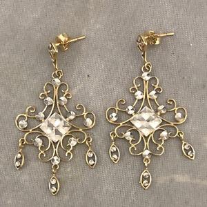 Beautiful Ladies 14k Two Tone Gold Filigree Chandelier Earrings