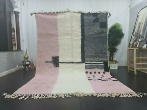 "Moroccan Handmade Beni Ourain Rug 6'6""x9'8"" Berber Abstract  Pink Black Wool Rug"