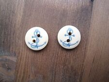 NAVY BLUE ANCHOR ROPE WOODEN BUTTON NAUTICAL STUD Pair of Earrings Wood