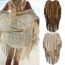 Women Boho Kaftans Kimono Shawl Tassels Fringe Beach Cover Up Cape Coat Cardigan