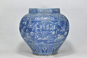 China Ancient porcelain Ming Dynasty Blue glaze Mandarin Duck Eight edges jar