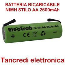 BATTERIA RICARICABILE STILO NI-MH AA 1,2V 2600mAh CON LAMELLE A SALDARE 14x50 mm