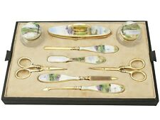 Antique Sterling Silver Cut Glass and Guilloche Enamel Dressing Table Set 1927