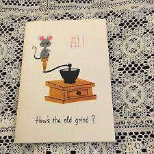 Vintage Greeting Card Note Coffee Grinder Mouse Pink Ears