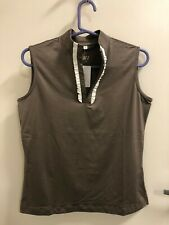 Tail Sleeveless Taupe Medium Mock Neck Top Shirt Golf Tennis Msrp $65 White Trim