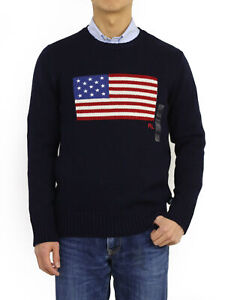 Polo Ralph Lauren Crew Pullover USA Flag Sweater Navy