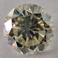 Round Cut Loose Moissanite Use 4 Ring 3.20 Ct 9.42 Mm Clarity Vs12 Light Yellow
