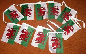 WELSH FLAG BUNTING  Wales Cymru  13ft / 3mtrs