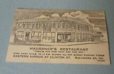 Vintage 1940's Haussner's Restaurant Business Card Eastern Avenue Baltimore MD