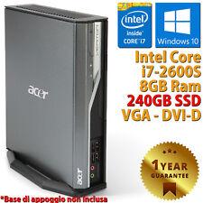 PC MINI COMPUTER RICONDIZIONATO ACER USFF CORE i7-2600S RAM 8GB SSD 240GB WIN 10