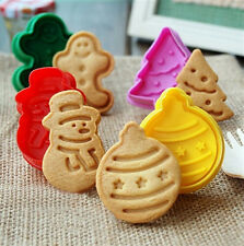 Xmas Hot Fondant Cake Cupcake Decorating Cookie Biscuit Plunger Cutter Mold Tool