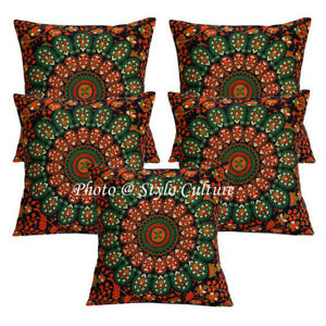 Indian Cotton Decorative Printed Cushion Cover Dark Blue Mandala Sofa Pillowcase