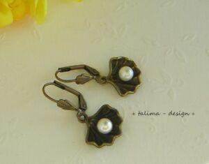Ohrringe bronze Muschel mit Perle Muscheln Meer Maritim +handmade+