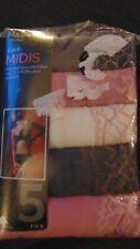 M&S Set of 5 Cotton Rich Lace Trim Midi Style Briefs 28 Rose Mix BNWT