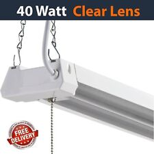 LED 4FT Utility Shop Light 40W, 4000K, Clear Lens, Garage, Plug In, Pull Cord