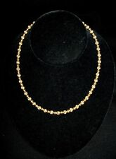 """Vtg 14kt Gold 16"""" Alternating 5mm Brushed Smooth Ball Bead Wheat Chain Necklace"""